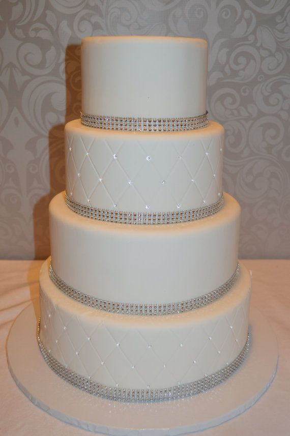 Four Tier Fondant Faux Wedding Cake  Fake Wedding Cake  Fondant     A 4 tier fondant faux wedding cake  Cake comes in 6  8  10  12 tiers   Approx 20 tall and on an 16 cake board  With the costs of weddings