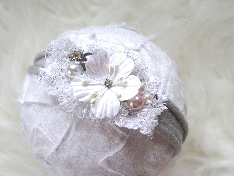 Haarband Mädchen Rose Perlen BLUME SATIN Stirnband Baby Taufe Hochzeit