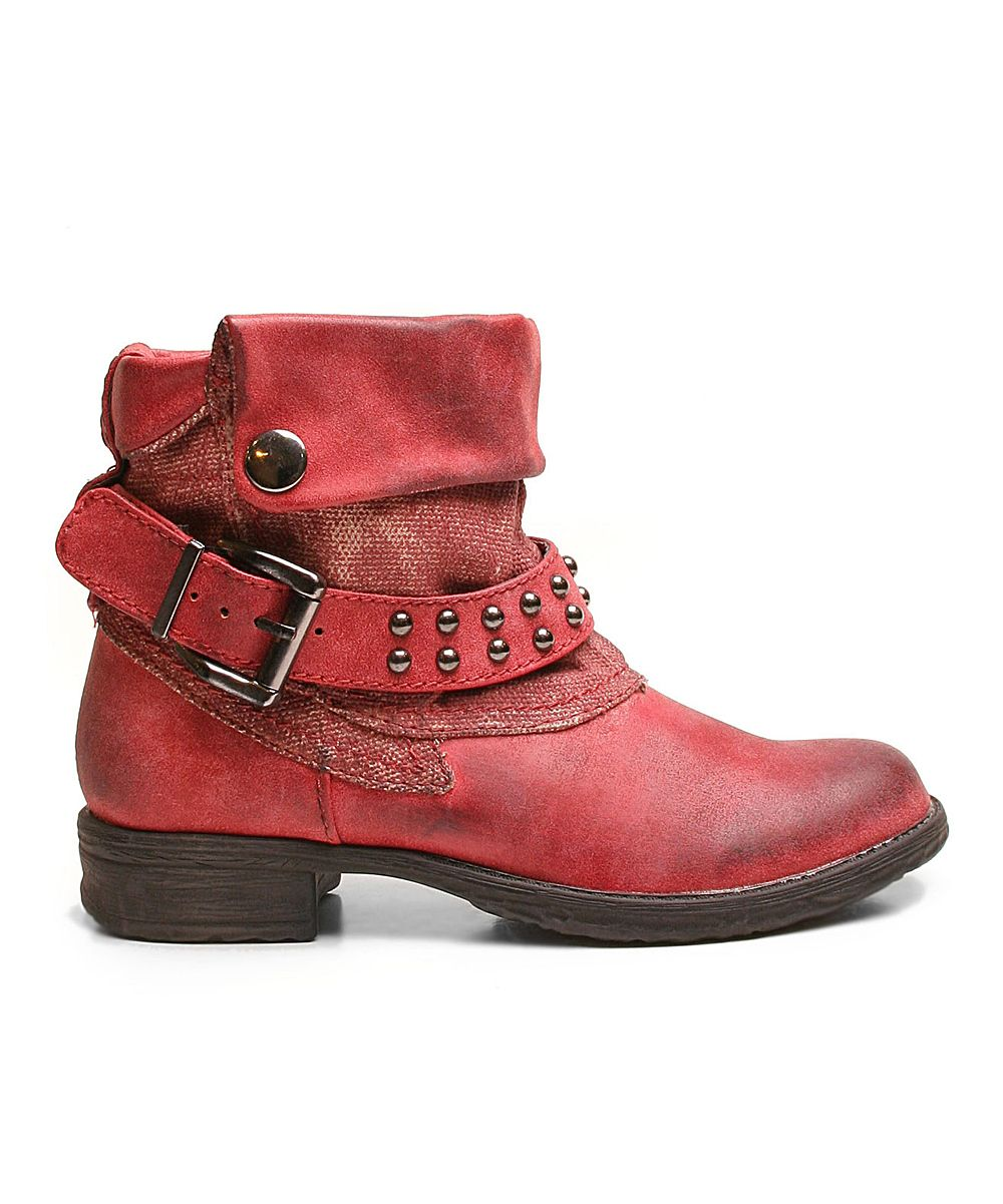 Red Too Fastball Ankle Boots (by Two Lips)