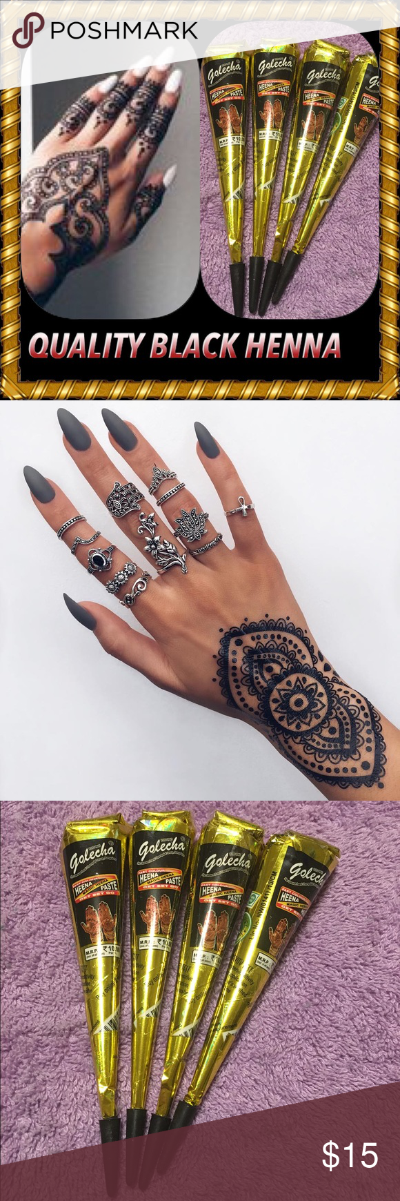 High Quality Authentic Black Henna Ink 4 Cones Boutique My Posh