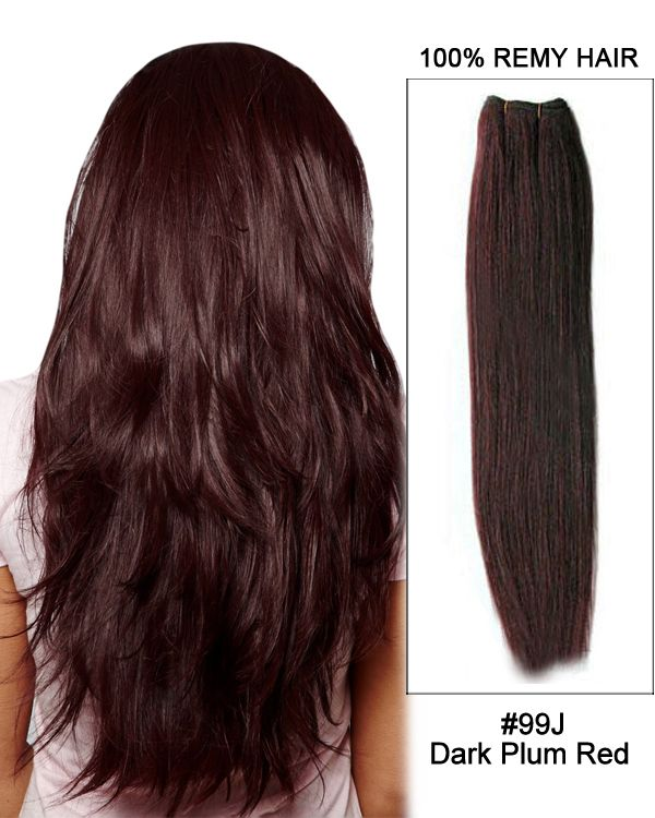 20 99j Dark Plum Red Straight Weft Remy Human Hair Extension