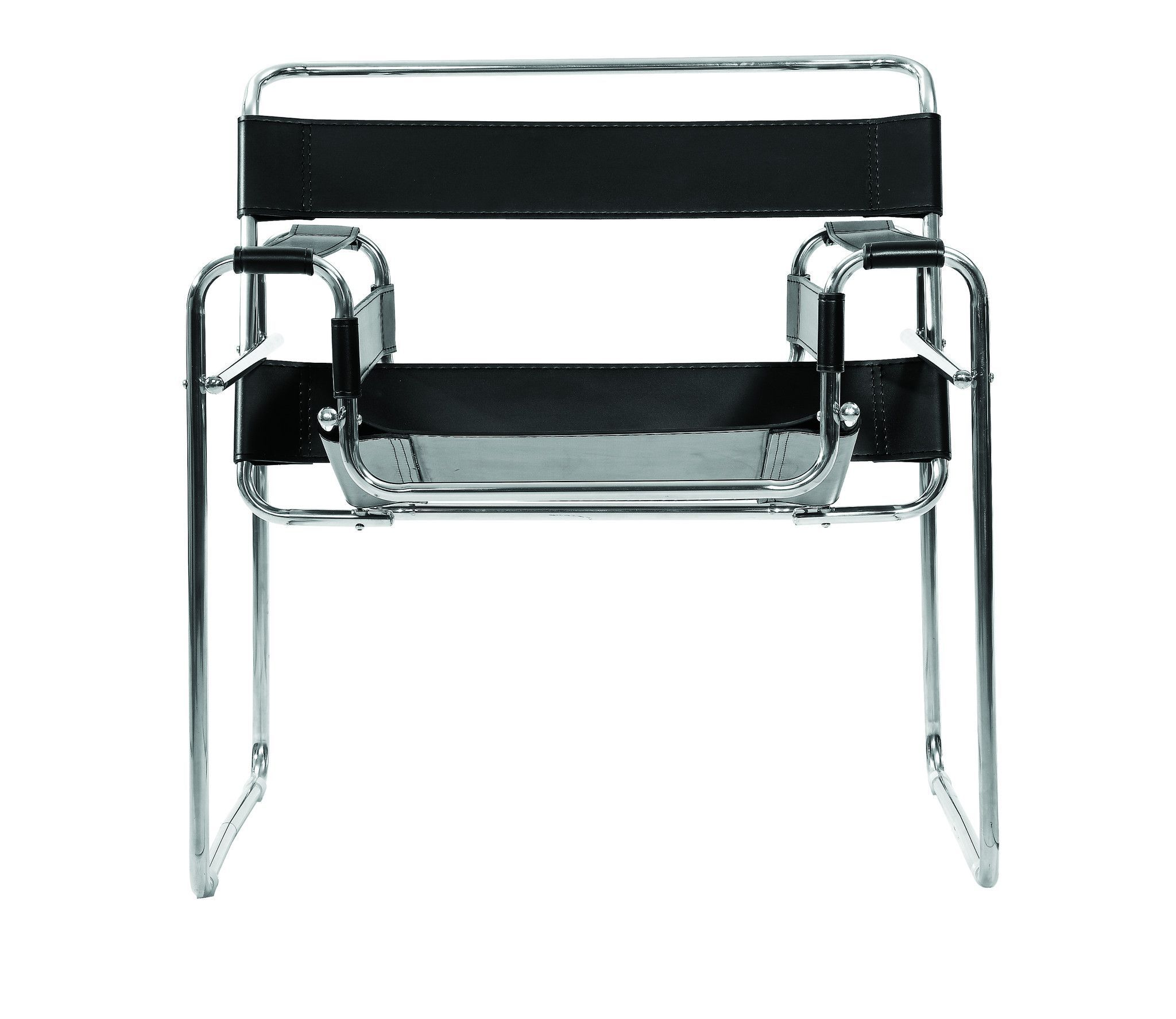 Wassily Bauhaus Style Leather Lounge Chair, Black