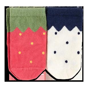 Adorable socks making the tiny feet look like berries.