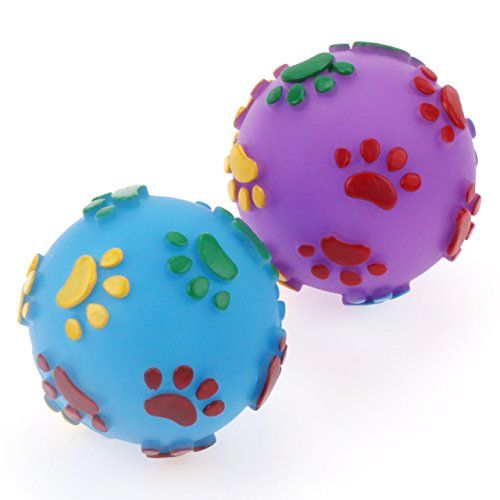 Chiwava Pet 2pcs Squeak Vinyl Dog Toy 24 Ball With Colorful Paw