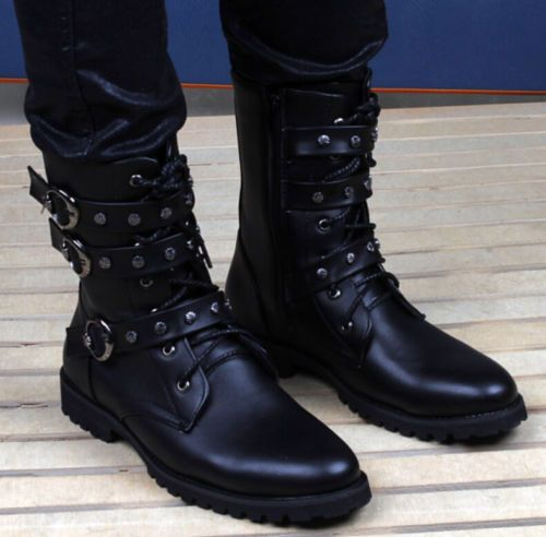 Fashion Mens Belt Buckle Lace Up High Top Military Boots Motocycle