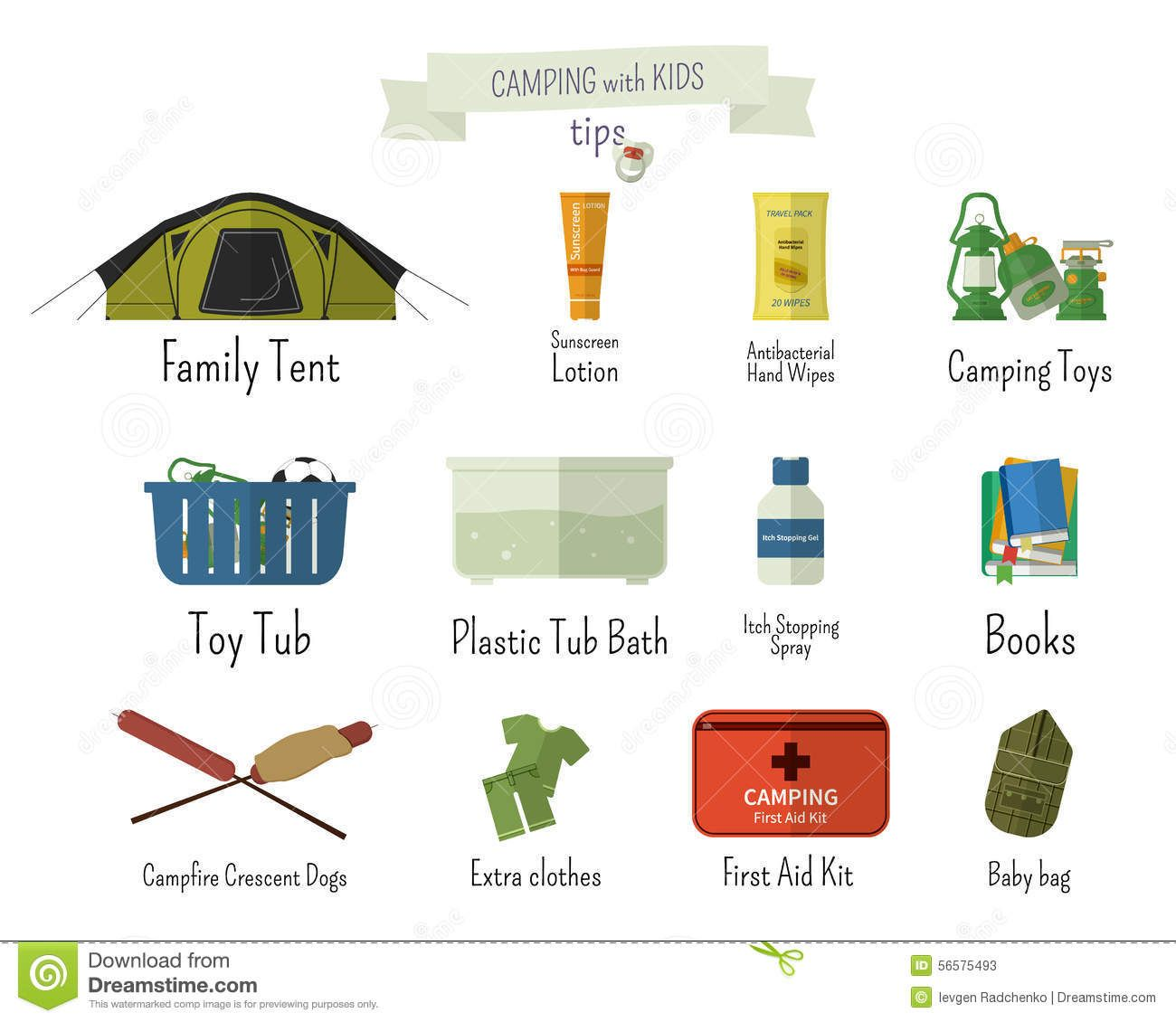 Camping With Kids Tips Set Of Flat Adventure