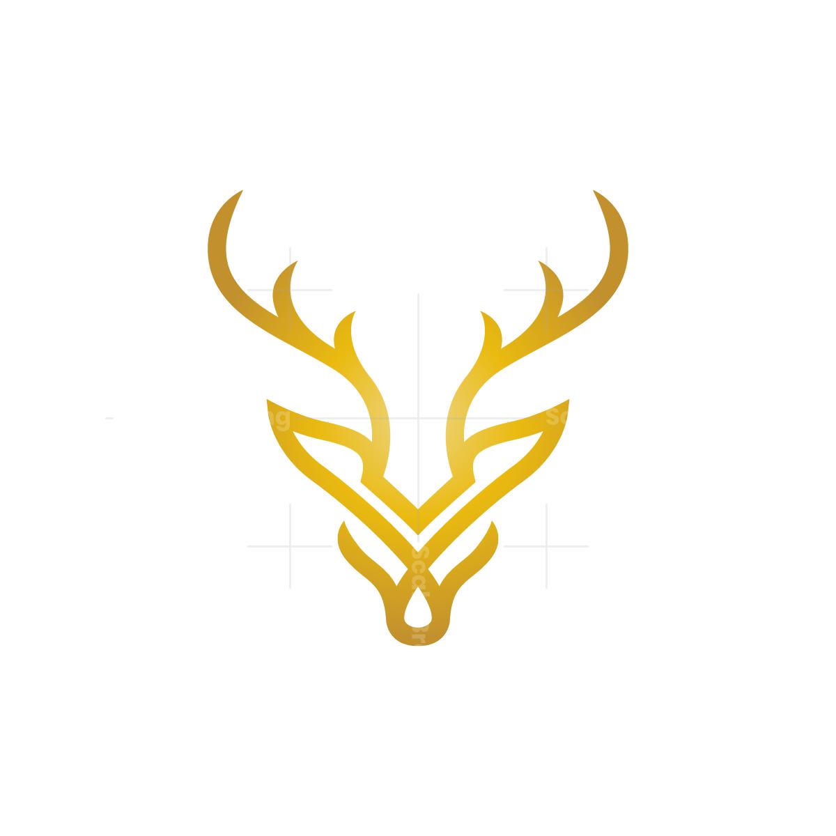 Golden Deer Head Logo Pet Logo Design Logo Design Logo Deer