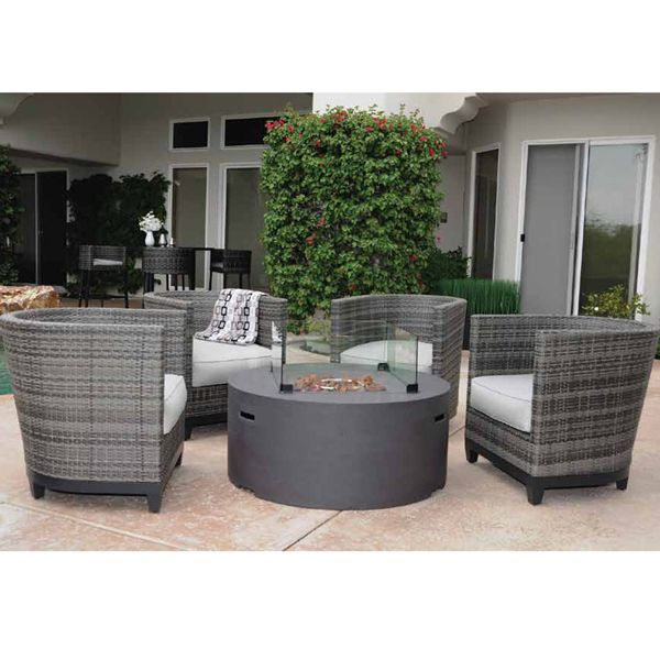 a contemporary fire pit set featuring chairs wrapped in