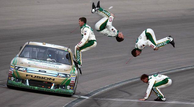 Carl Edwards Victory Back Flip Las Vegas March 2011