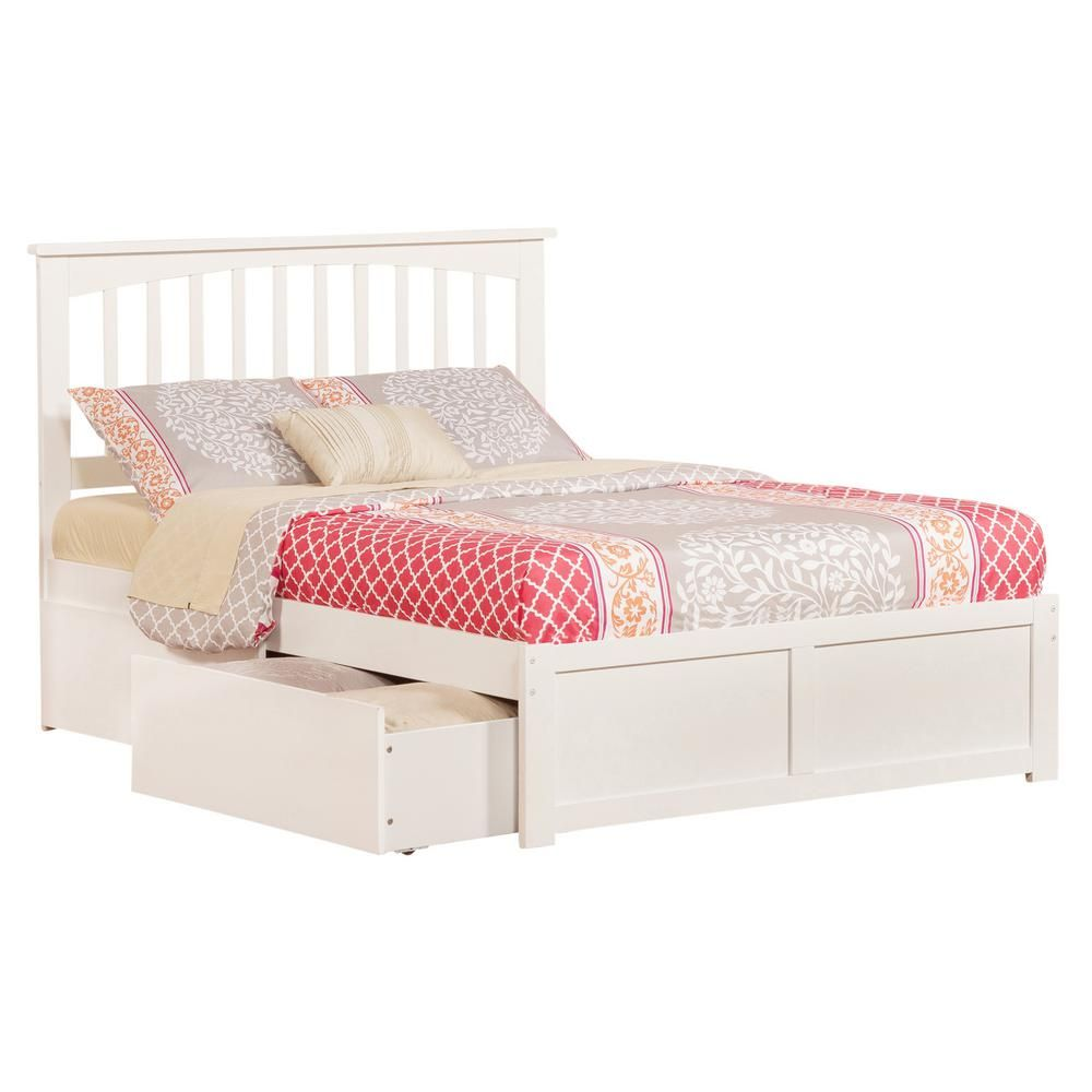 Atlantic Furniture Mission White Full Platform Bed With Flat Panel Foot Board And 2 Urban Bed Drawers Bed With Drawers Under Bed Drawers Atlantic Furniture