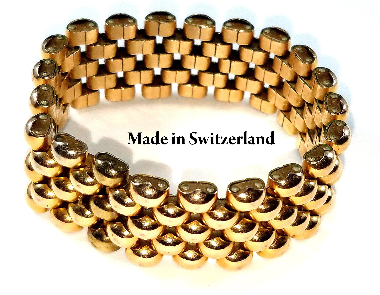 Vintage switzerland geneve gf bracelet wide gold filled s