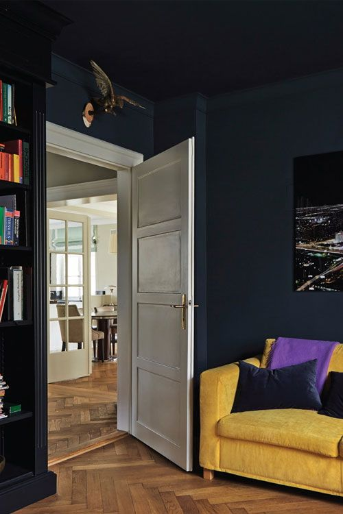 farrow ball bedroom with walls and ceiling in hague blue and bookshelf in black blue paint. Black Bedroom Furniture Sets. Home Design Ideas