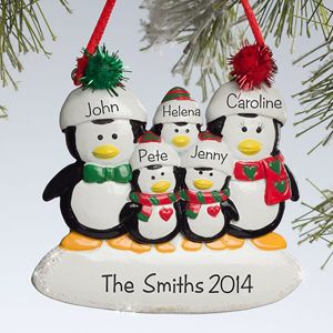 Personalize your Christmas tree with this decorative Personalized Christmas Ornaments - Penguin Family - 5 Names. Find the best personalized Christmas ornaments at PersonalizationMall.com
