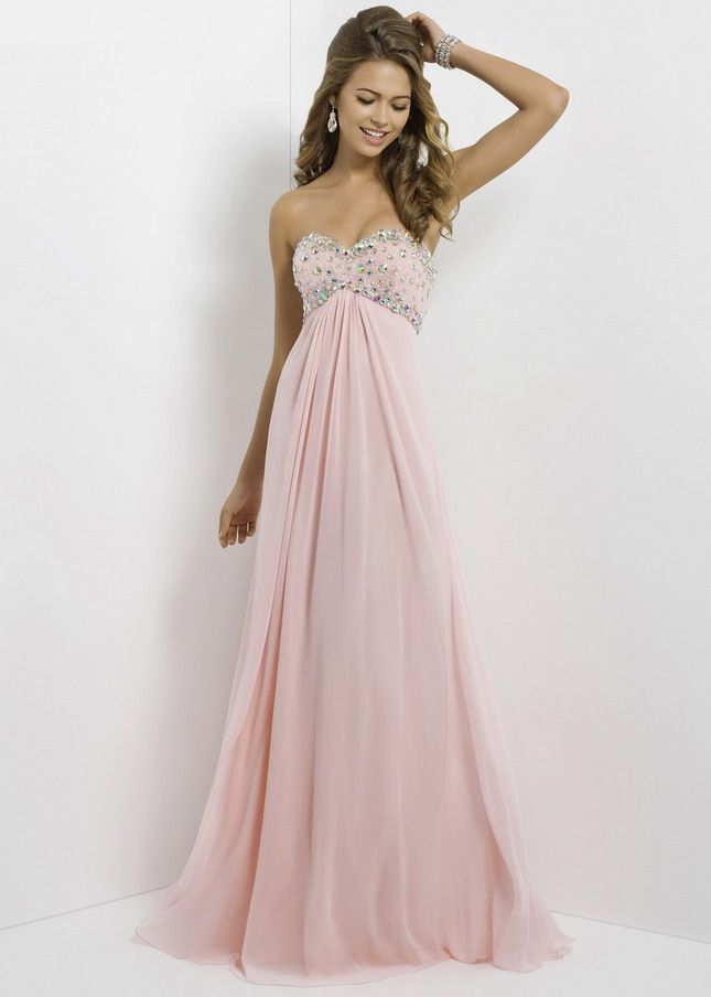 Shiny Stones Beaded Top Pink Long Strapless Open Back Prom Dress ...
