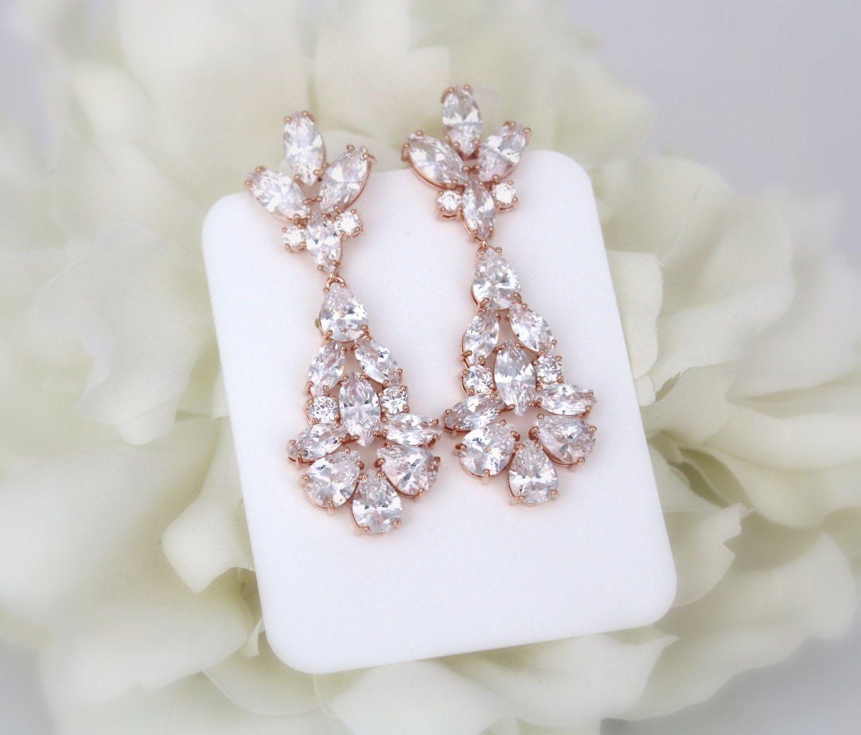 Rose Gold earrings Long Bridal earrings Bridal jewelry Crystal