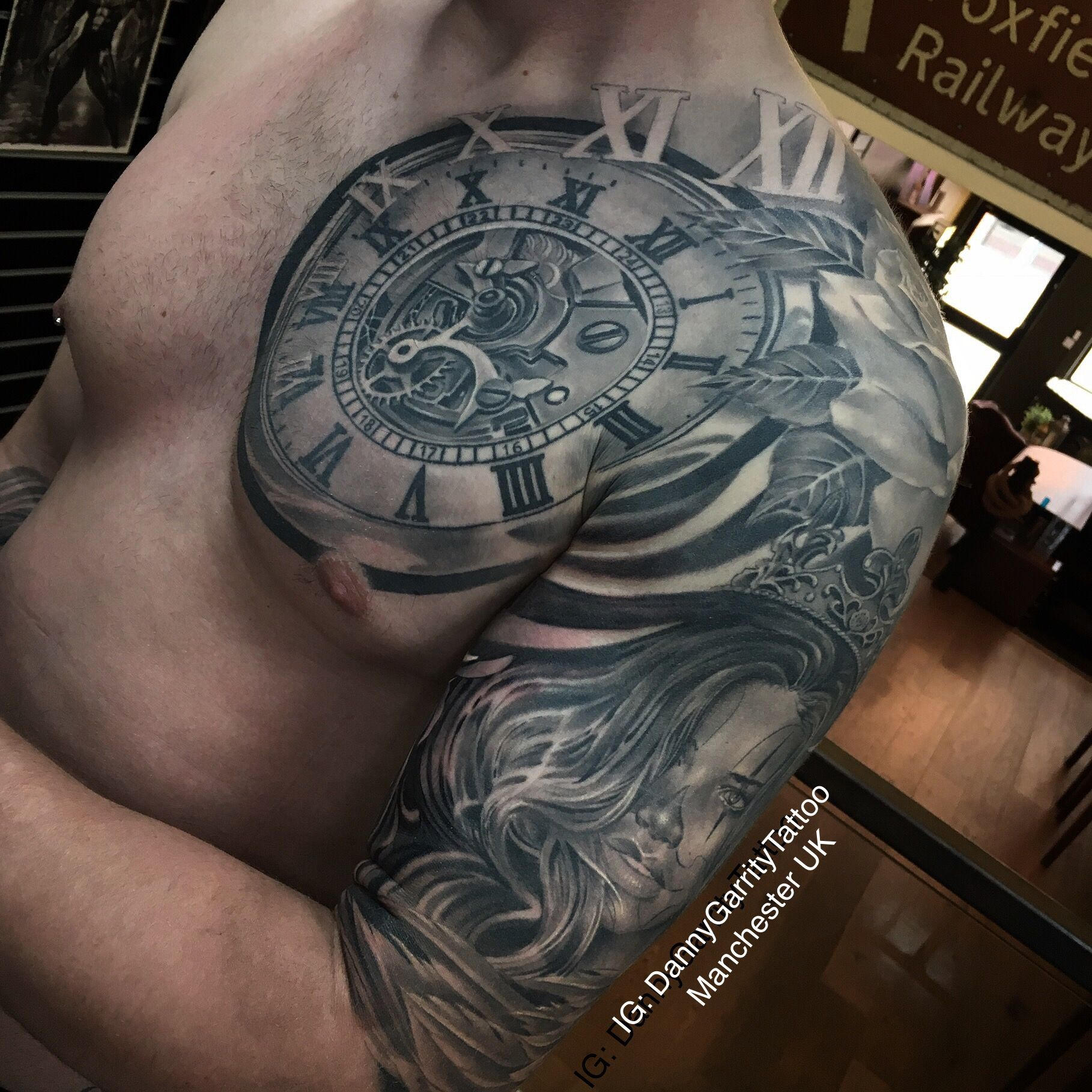 Men S Sleeve And Chest Piece Tattoo Ideas Mens Sleeve Tattoo Designs Chest Tattoo Clock Chest Tattoo Men