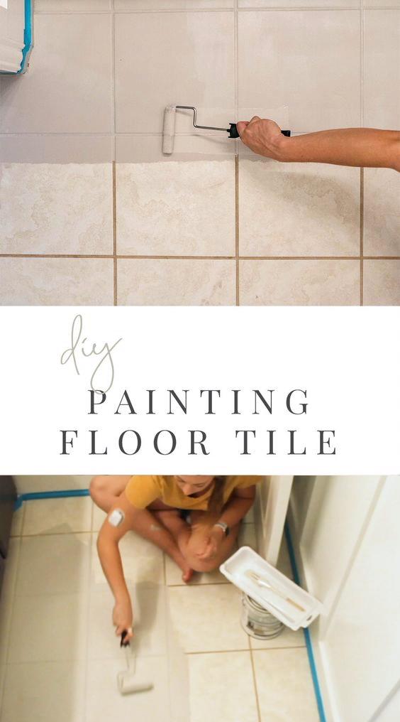 DIY Painted Tile Floor - Rust-Oleum - Dated Tile Transformation - Paint Tile Floor