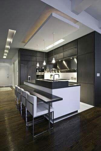 Una cocina moderna con iluminación especial #cocina | Arch | Home ...