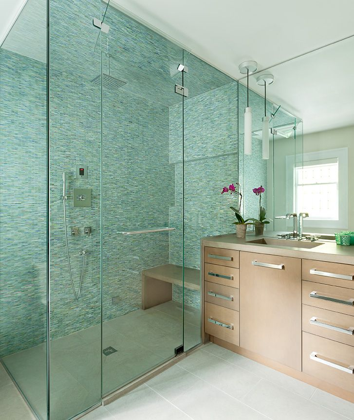 Modern Bathroom With Walk In Frameless Shower Enclosure With
