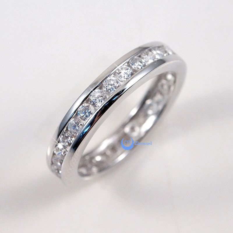 Women's Channel Set STERLING SILVER. Outstanding quality with finest lab diamonds eternity band. 925 STAMPED. m2tsD3t4t