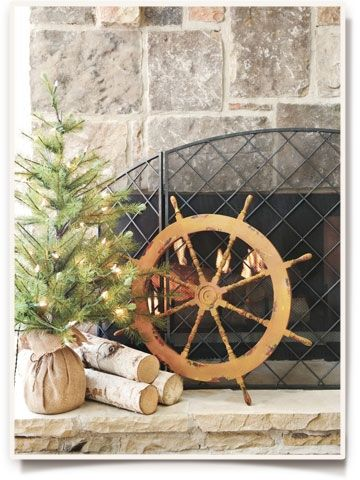 Nautical Christmas decor - use a red poinsetta plant instead