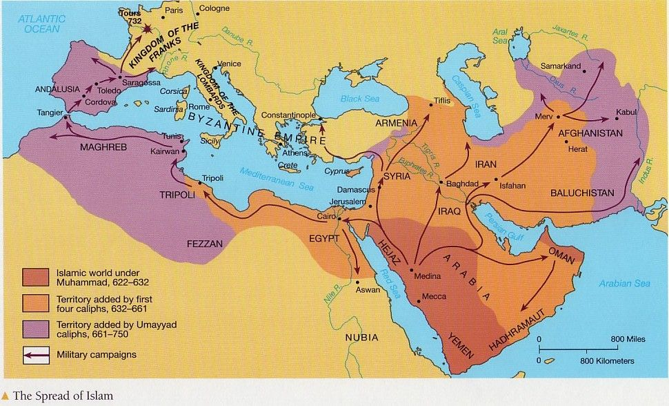 Image result for spread of islam 632-750