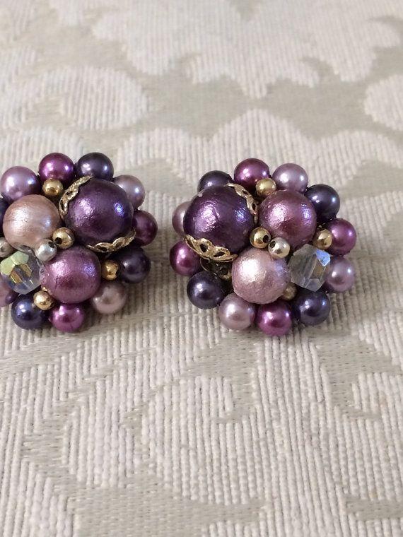Purple Pearl Clip Ons Earrings By Vintagesignora