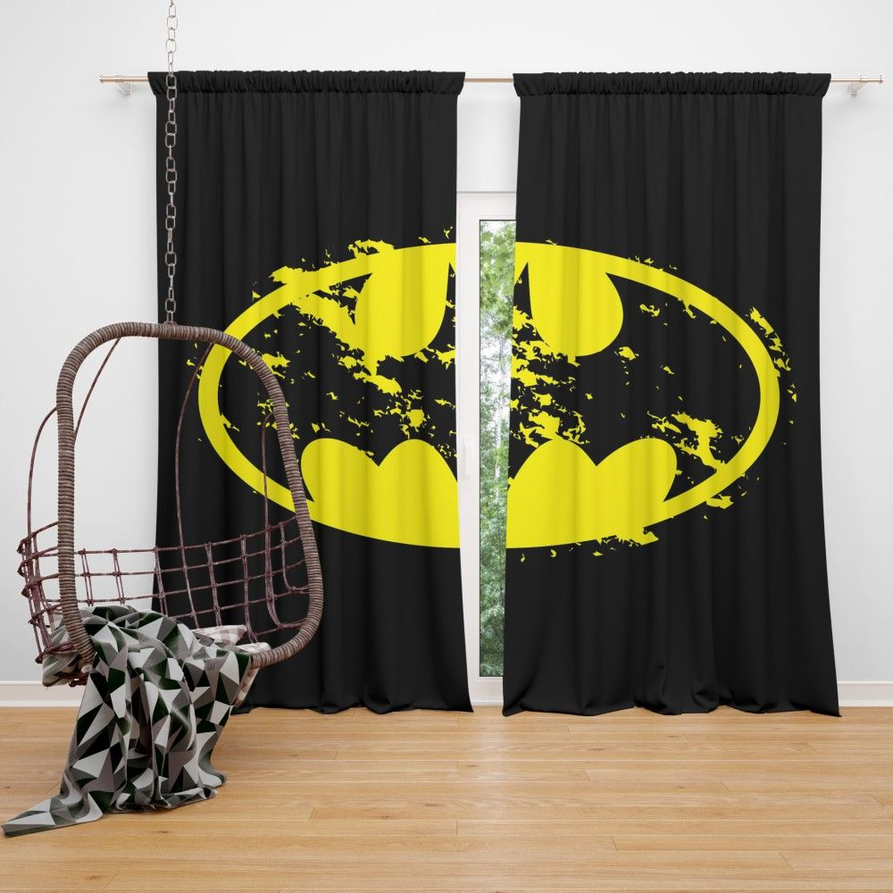 Batman Yellow Dc Symbol Curtain Batman Bedroom Batman Baby Room