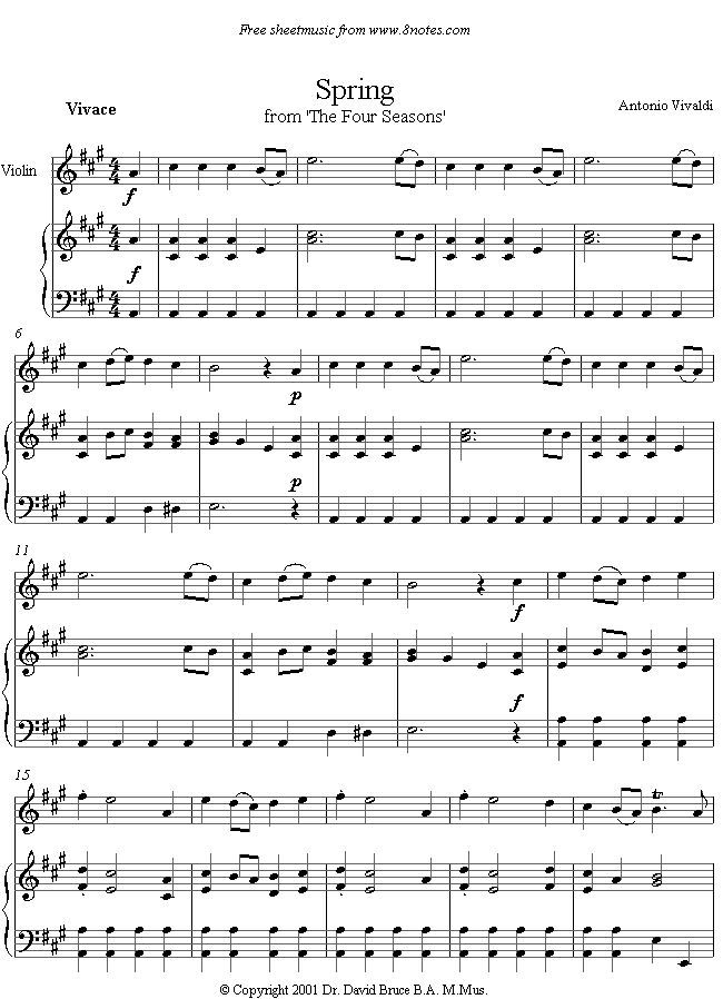 Vivaldi Spring From The Four Seasons Sheet Music For Violin