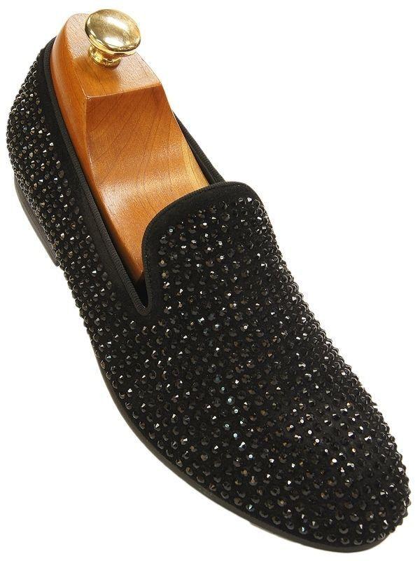 c32ecdd1910 Steve Madden Mens Black Rhinestone Slip On Loafer Club Party Trendy Formal  Shoe