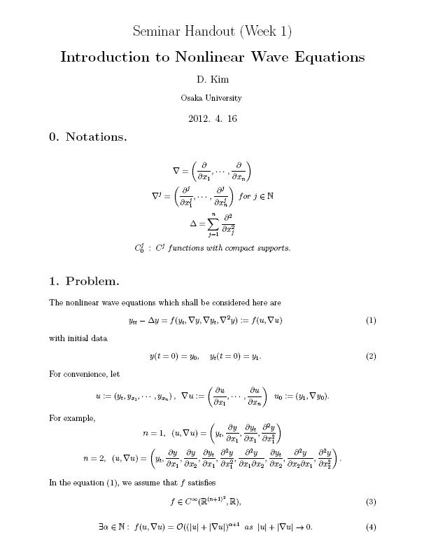 M1 Seminar] Week 1 : Introduction to Nonlinear Wave Equations #Math