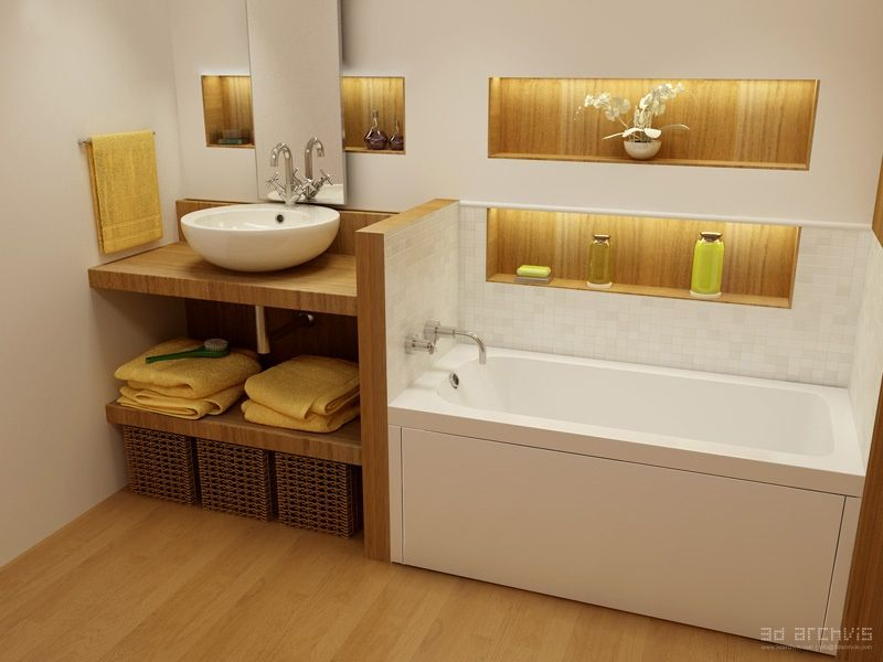 contemporary bathtub design concepts for fresh relaxing white yellow oak fitted bathroom - Fitted Bathroom Ideas