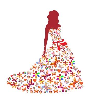 Silhouette of a girl in a dress on VectorStock