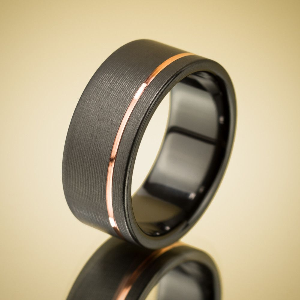 offset copper stripe black zirconium ring