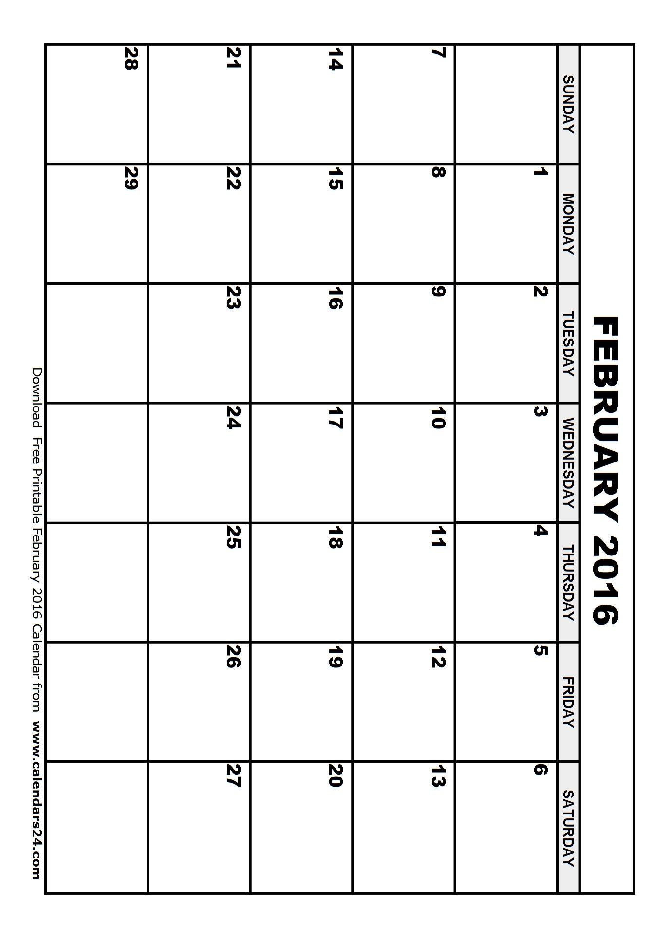 Blank February 2016 Calendar February 2017 Calendar