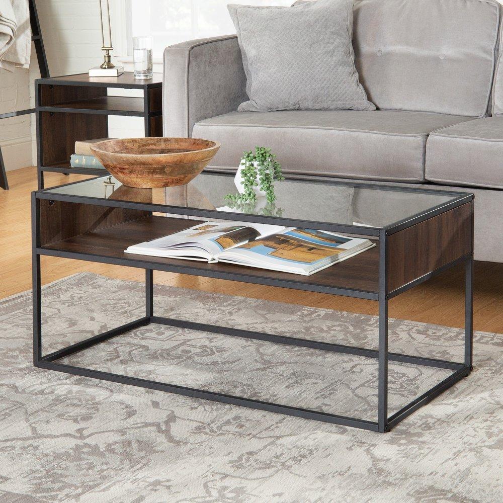 Dark Walnut And Glass Coffee Table Jersey Rc Willey Furniture Store Coffee Table Glass Coffee Table Coffee Table With Storage [ 1000 x 1000 Pixel ]