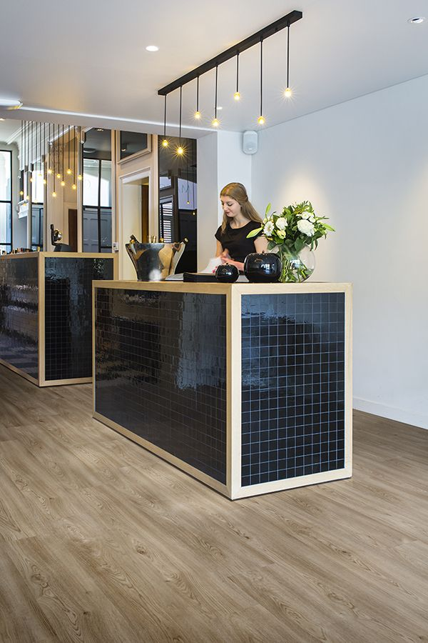Black Amp Wood Reception Desk With Ambient Lighting Pure