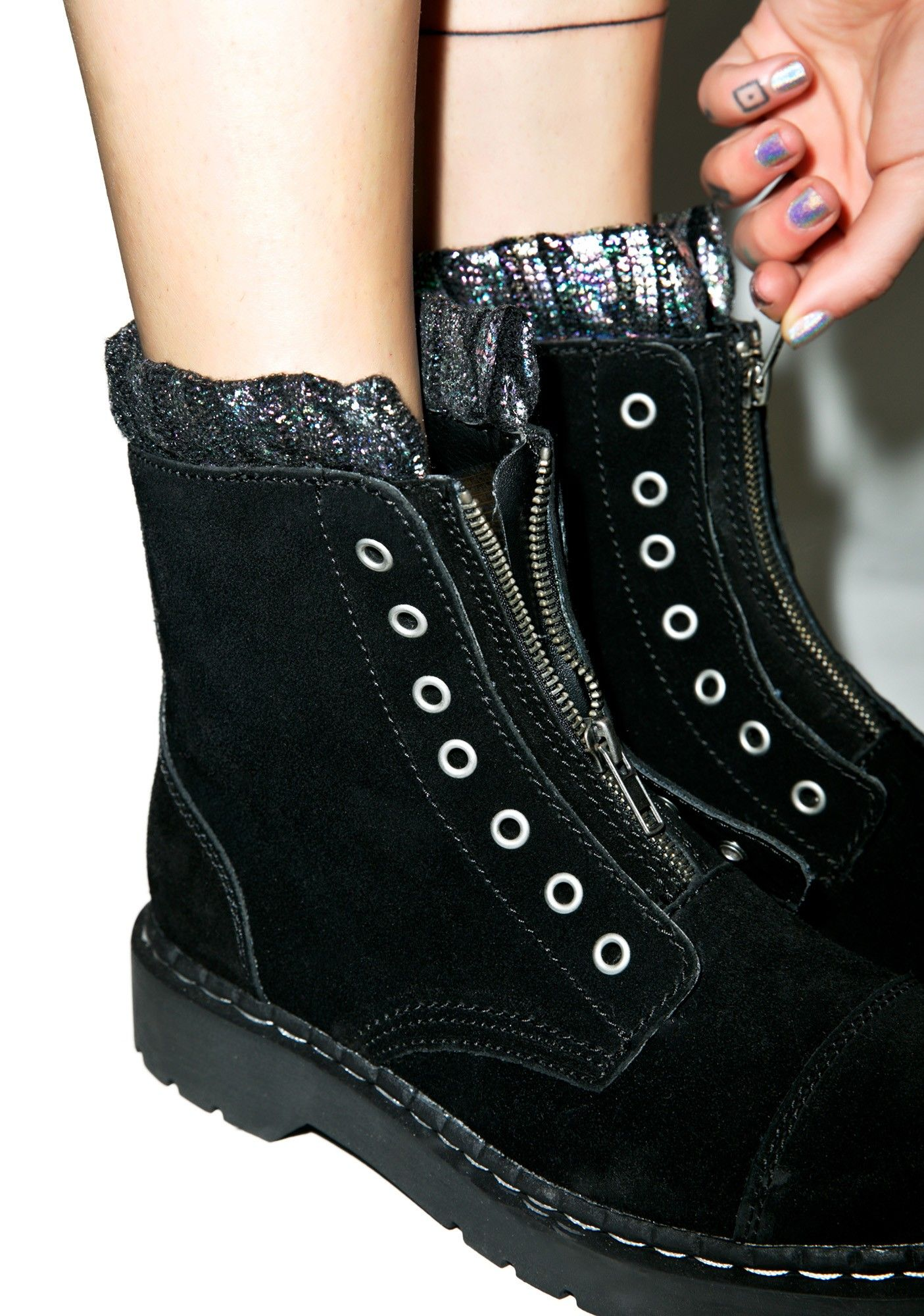 Iridescent Knit Collar Combat Boots free shipping original for sale cheap authentic buy cheap from china best prices for sale WcPh4Uha