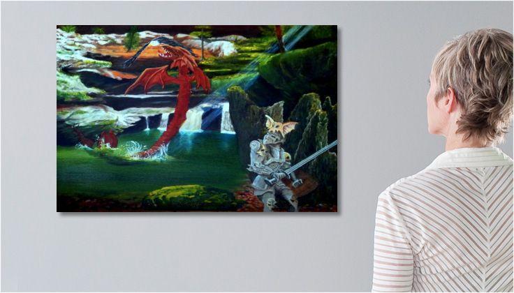 Tableau #dragon Peinture  SCÈNE DE CHASSE une toile de #DRAGONUS