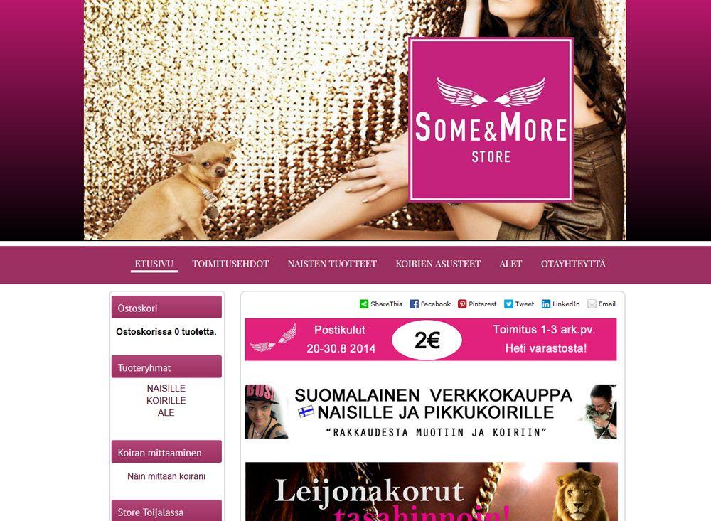 Some & More tarjoaa muotia naisille ja pikkukoirille myymälässään Akaalla sekä Kotisivukoneella perustetussa verkkokaupassaan.
