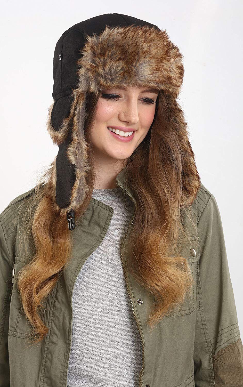 Amazon.com  Tough Headwear Trapper Hat with Faux Fur  amp  Ear Flaps - 3c394a987baa