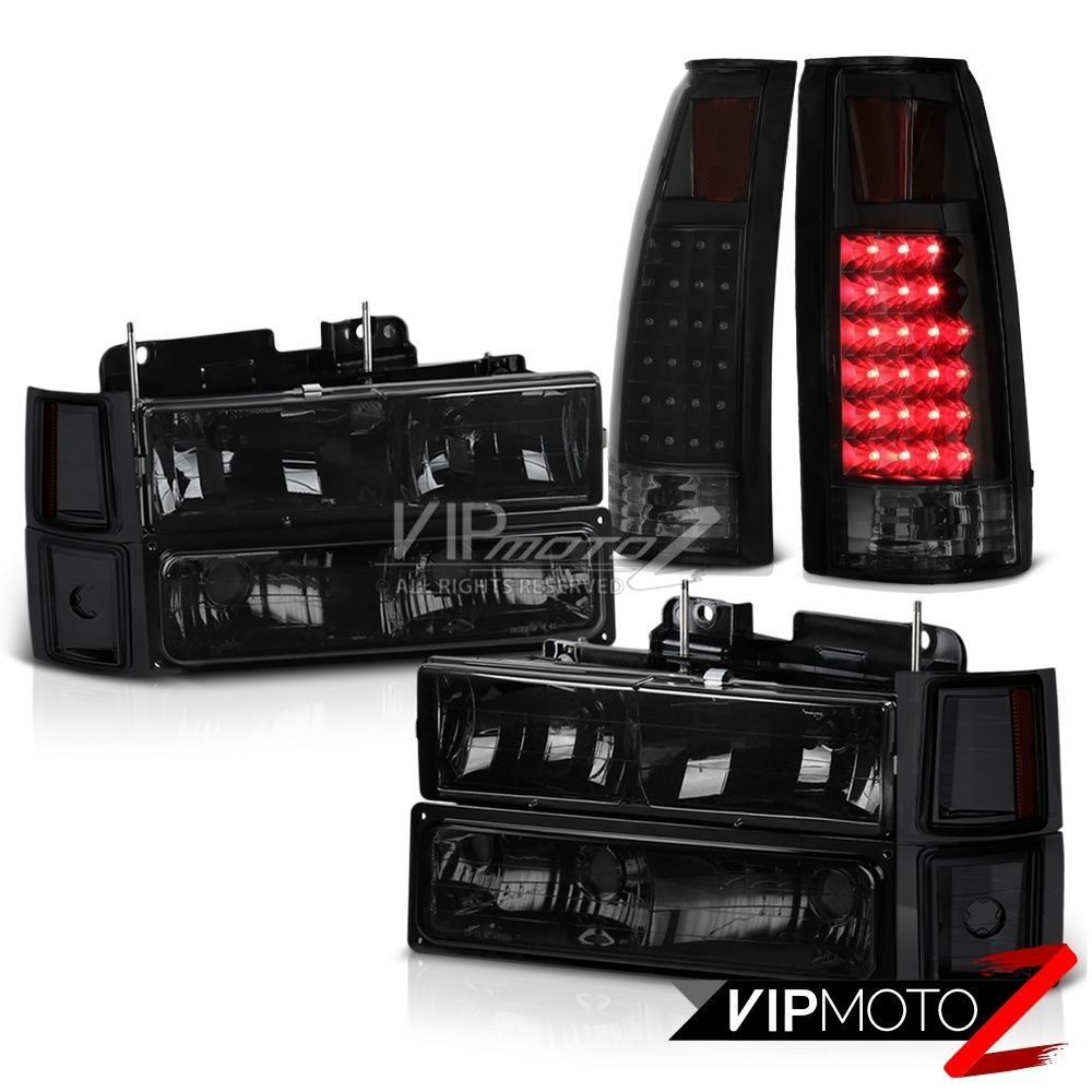 Truck 98 chevy truck parts : 94-98 Chevy Truck Z71 Sinister Black Tail Lights Smoked Headlamps ...