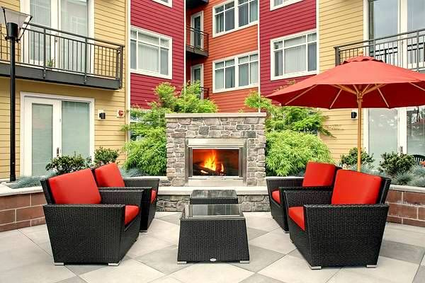 Only thing missing is you and a glass of wine #fireside #courtyard #outdoorspaces #fireplace