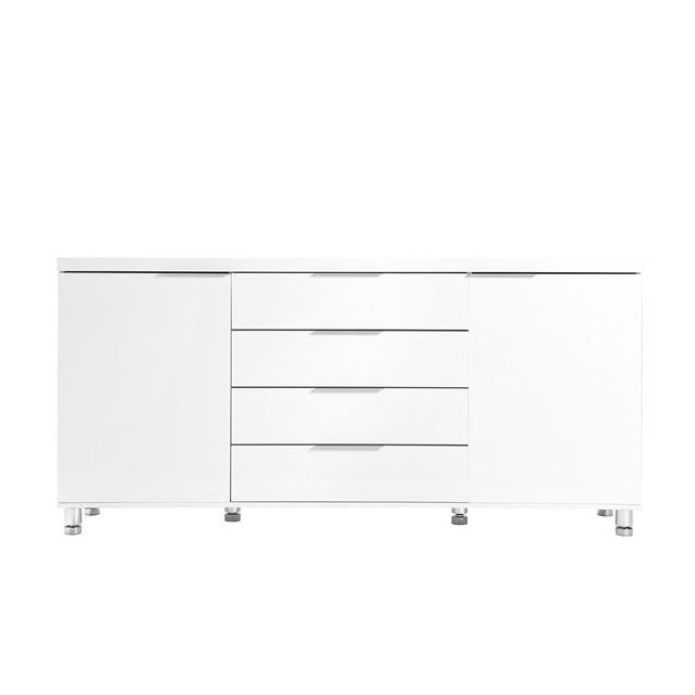 Buffet design 2 portes/4 tiroirs blanc laqué JIM MILIBOO Cuisine