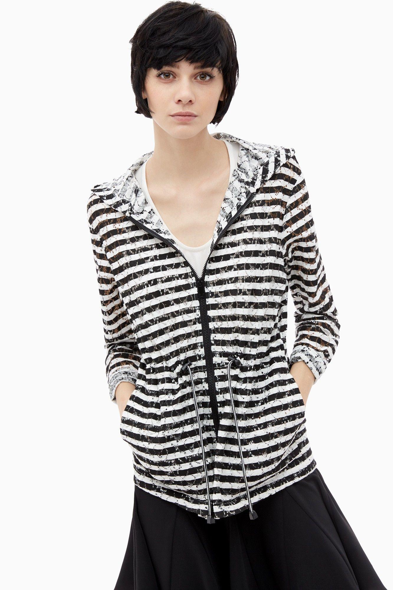 abrigos Adolfo rayas y encaje de Parka chaquetas marineras con qtT7xXw8