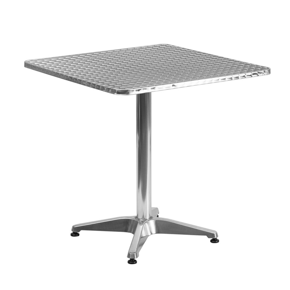 36 X 36 Square Aluminum Table Top With Base At Fashionseating Com Bistro Table Outdoor Steel Dining Table Metal Dining Table
