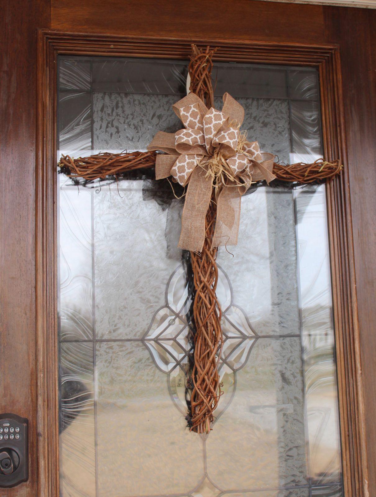 Easter Cross Cross Wreath Grapevine Cross Wreath Cross For Front Door Handmade Wreath Easter Wreath Cross Wreath Handmade Wreaths Grape Vines
