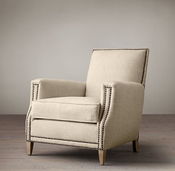 RHs Marcel Upholstered Club ChairModeled On French Chairs Of The And This Handsome Silhouette Is Highlighted By Brass Nailhead Trim
