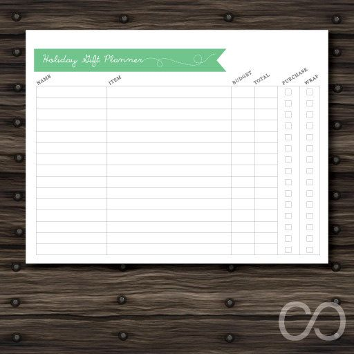 holiday gift shopping budget planner sheet printable