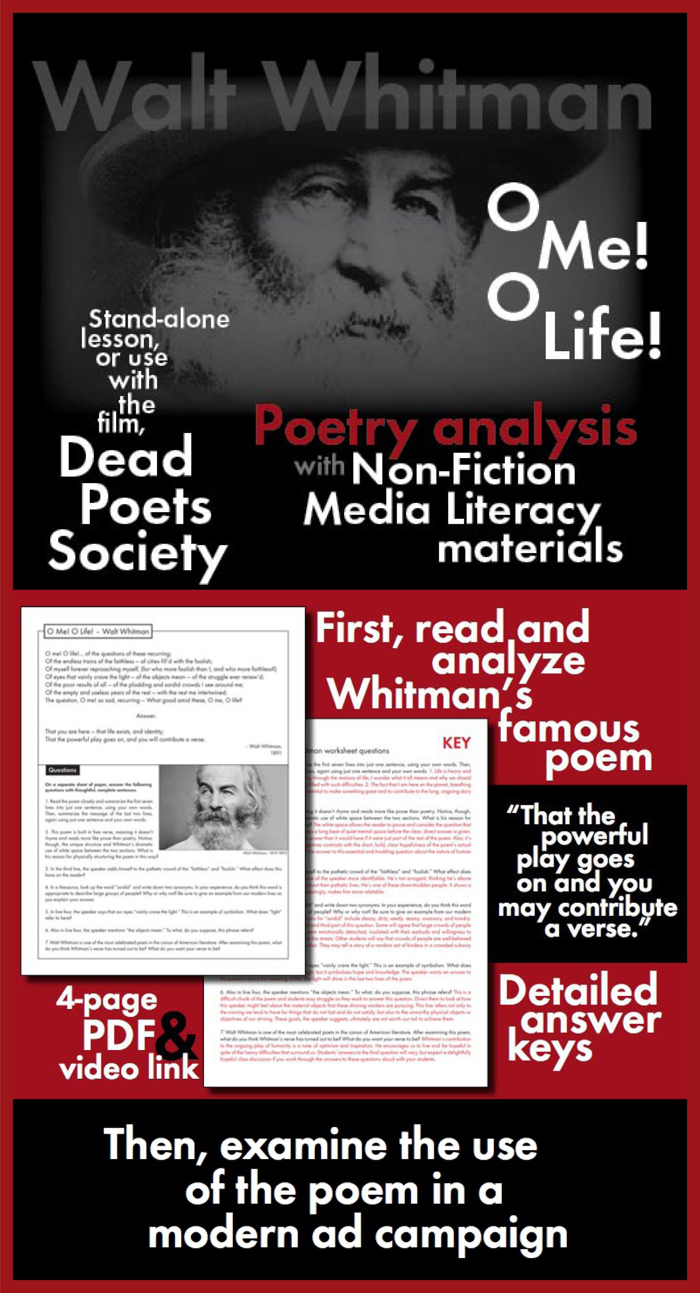 Walt Whitman O Me O Life Poetryysis Amp Non Fiction